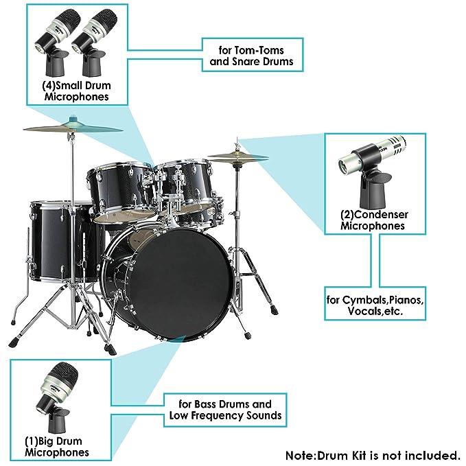 Neewer 7 Stück Trommel Instrument Mikrofon Set, Mikrofonset für ...