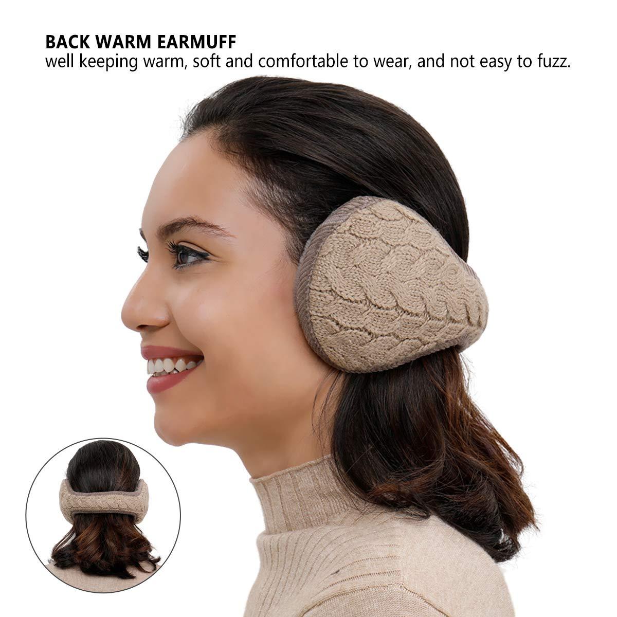 Metog Unisex Foldable Ear Warmers Polar kints Winter EarMuffs (khaki, One size) by Metog (Image #3)