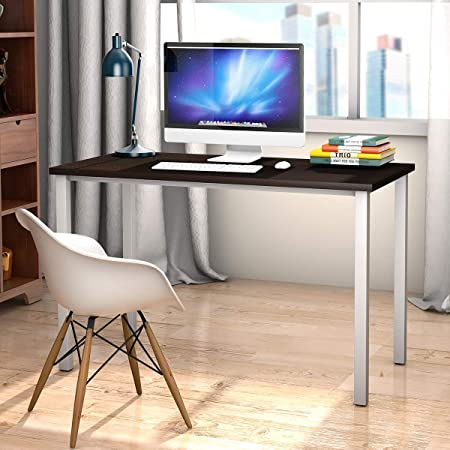 Tangkula 47 Computer Desk Writing Table, PC Laptop Office Desk Study Writing Modern Table Modern Simple Writing Desk Multipurpose Workstation for Home and Office, MDF Board White Steel Legs Black W