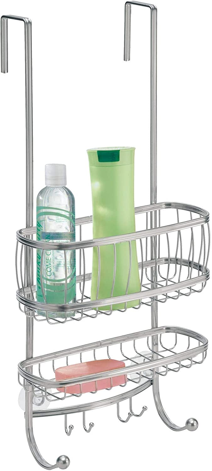 iDesign York Bathroom Over the Door Shower Caddy with Storage Baskets Shelves and Hooks for Shampoo, Conditioner, Soap, Silver