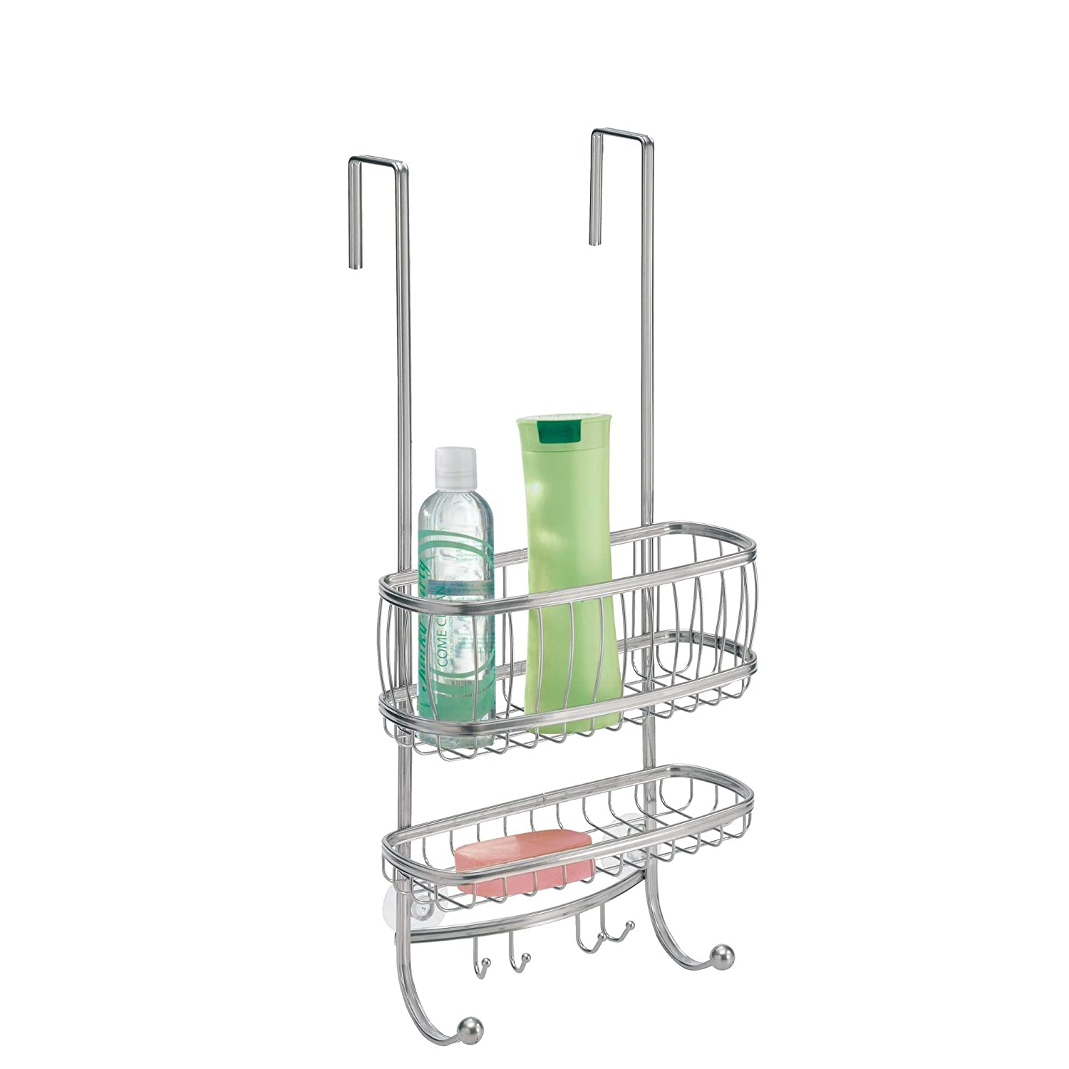 Amazon.com: InterDesign York Lyra - Bathroom Over-The-Door Shower Caddy Silver 10 x 8 21.75 inches: Home \u0026 Kitchen