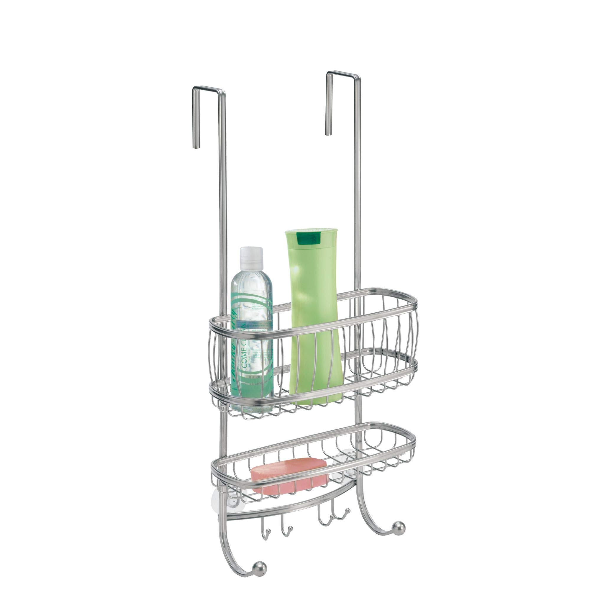 InterDesign York Bathroom Over the Door Shower Caddy with Storage Baskets Shelves and Hooks for Shampoo, Conditioner, Soap, Silver