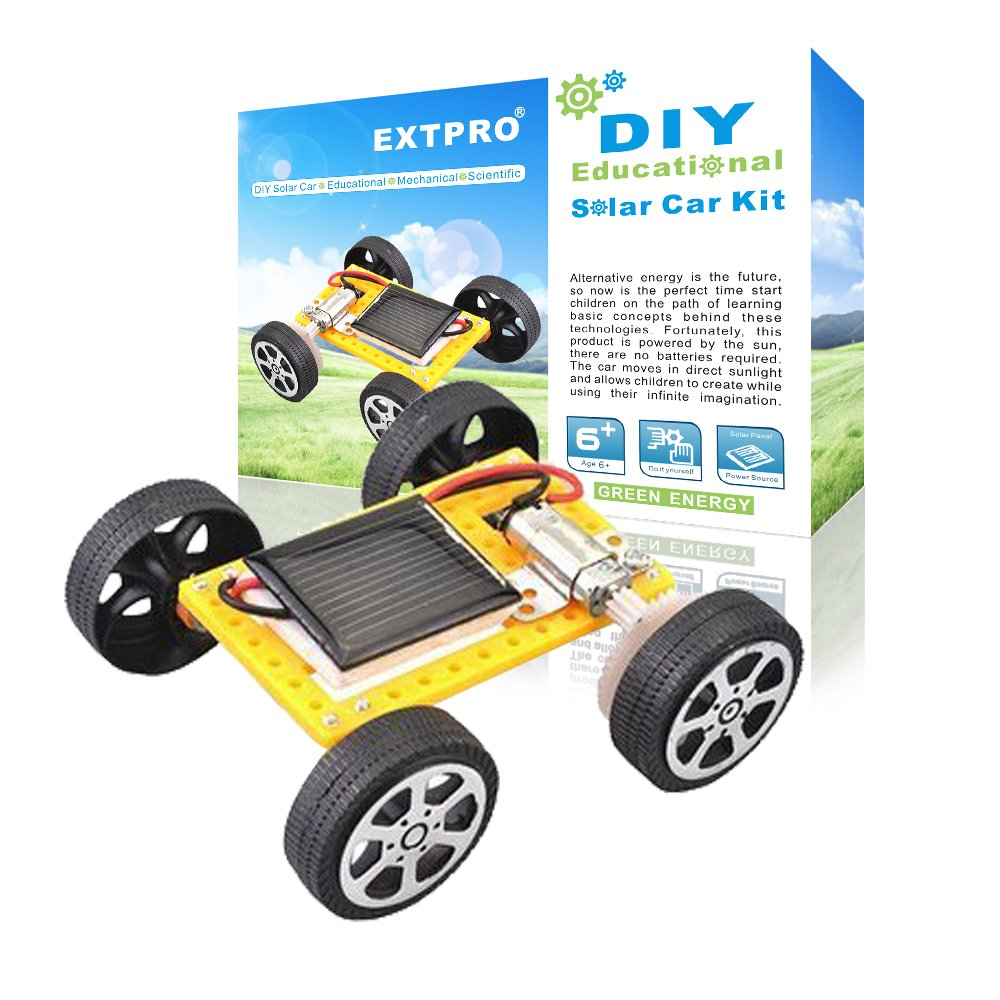 Extpro Solar Car DIY Assemble Toy Set Solar Powered Car Kit Science Educational Kit for Kids Students