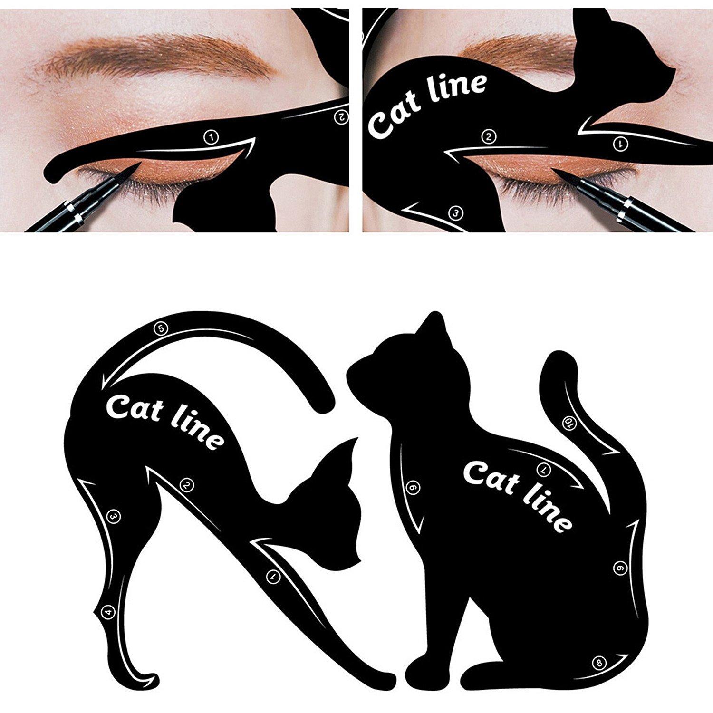 MinGe 1Pair Cat Line Eyeliner Stencil, Smoky Eyeshadow Applicators Template Plate, Professional Multifunction Black Cat Shape Eye liner & Eye Shadow Guide Template