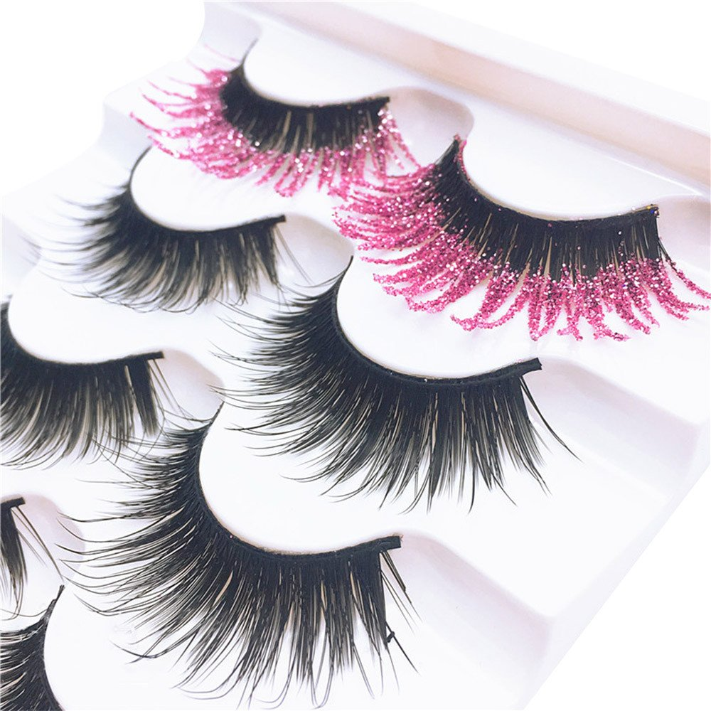 c3969140d50 Amazon.com : False eyelashes, Yezijin 5 Pair Luxury 3D False Lashes Fluffy  Strip Eyelashes Long Natural Party (A) : Beauty