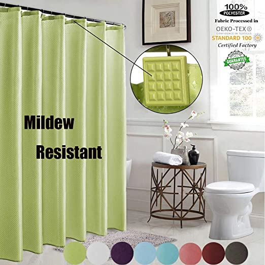 "Heavy Weight,72/""x72/"" Green Leaf Deluxe Shower Curtain Liner with Matching Hooks"
