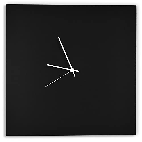 Modern Black Clock Blackout White Square Clock Minimalist Metal Wall Clocks, Contemporary Decor – 16in. Black w White Hands