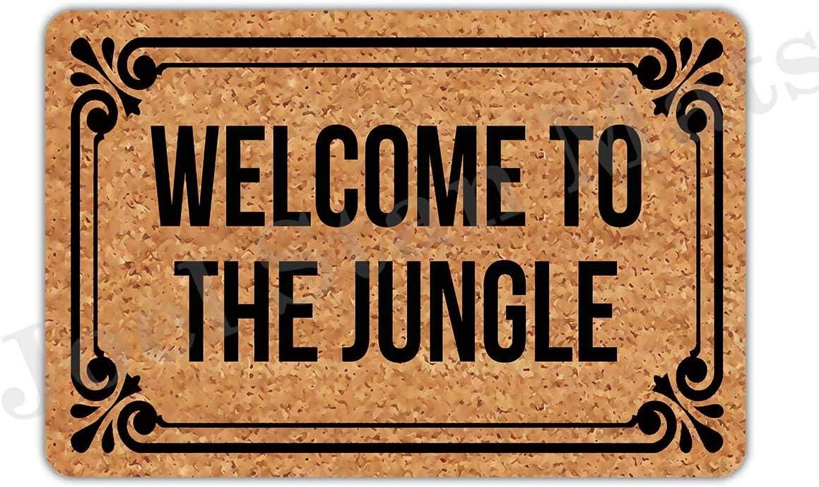 """Joelmat Welcome to The Jungle Entrance Non-Slip Indoor Rubber Door Mats for Front Door/Bathroom/Garden/Kitchen/Bedroom 23.6""""x 15.7"""""""