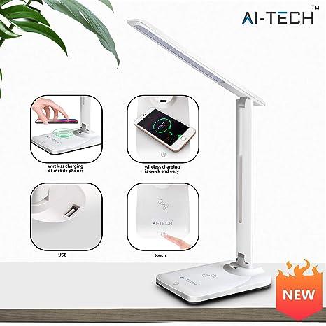 Aitech Lampara Escritorio Wireless Qi Cargador 10W Desk Lamp 4 Niveles De Brillo Cuidado De Los Ojos
