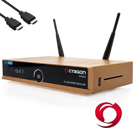 Octagon SF8008 4K UHD HDR Combo Limited Gold Edition DVB-S2X & DVB-C/DVB-T2 - Satélite, Cable y señal terrestre, E2 Linux IPTV Smart TV Box, Receptor ...