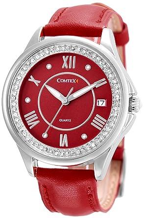 df08256cd7a7 Comtex レディース時計 ワインレッド レーザベルト 可愛い 文字盤 カレンダー表示 クオーツ時計 (ワイン