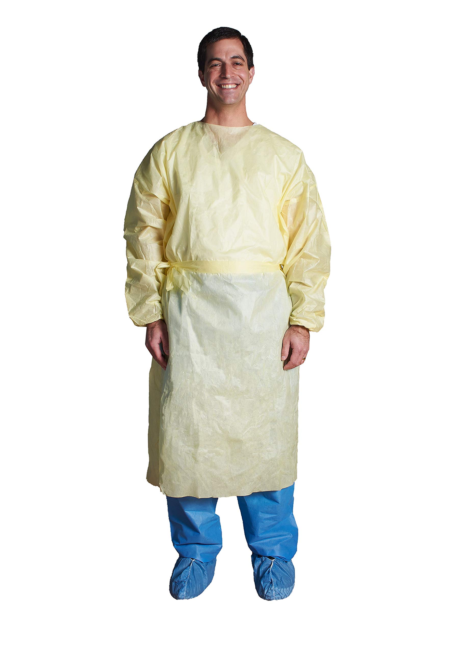 Isolation Gown, Tie Neck & Waist, Yellow w/Elastic Cuff - ASP Medical