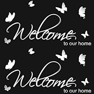 2 Set Welcome Door Sticker Acrylic Wall Decor Stickers DIY Welcome to Our Home Mirror Wall Decal Removable Mural Stickers for Bedroom Living Room and Door Family Wall Art Decals