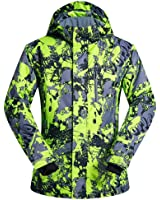 Ski Jacket, COPOZZ Mens Waterproof Windproof Snow Jackets with Removable Cap Mountain Outdoor Snowboard Softshell Sportswear Hollow-fabric Filling Keep Warm for Winter Sport