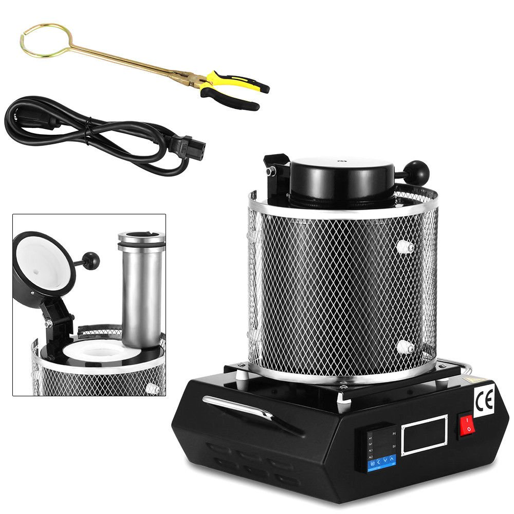 1600W 2KG Gold//Silver//Copper//Metals Electric Automatic Melting Furnace Graphite Pot Electric Digital Melting Furnace for Melting Scrap Silver Gold Copper