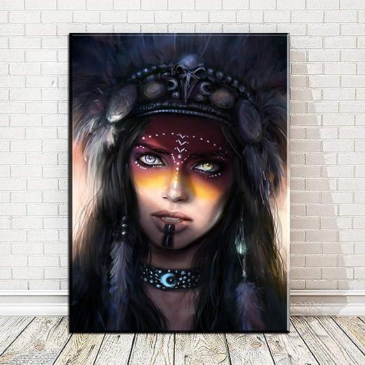 RTCKF Cartel nórdico Abstracto de Mujeres Indias pintando ...