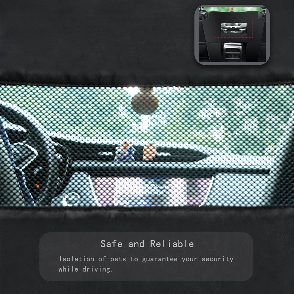 """Wellbro Dog Car Backseat Barrier, Padded and Adjustable Nylon Pet Barrier, Vehicle Dog Fence with 2 Mesh Windows, For Safe Driving, L24"""" x W24"""" by Wellbro (Image #3)"""