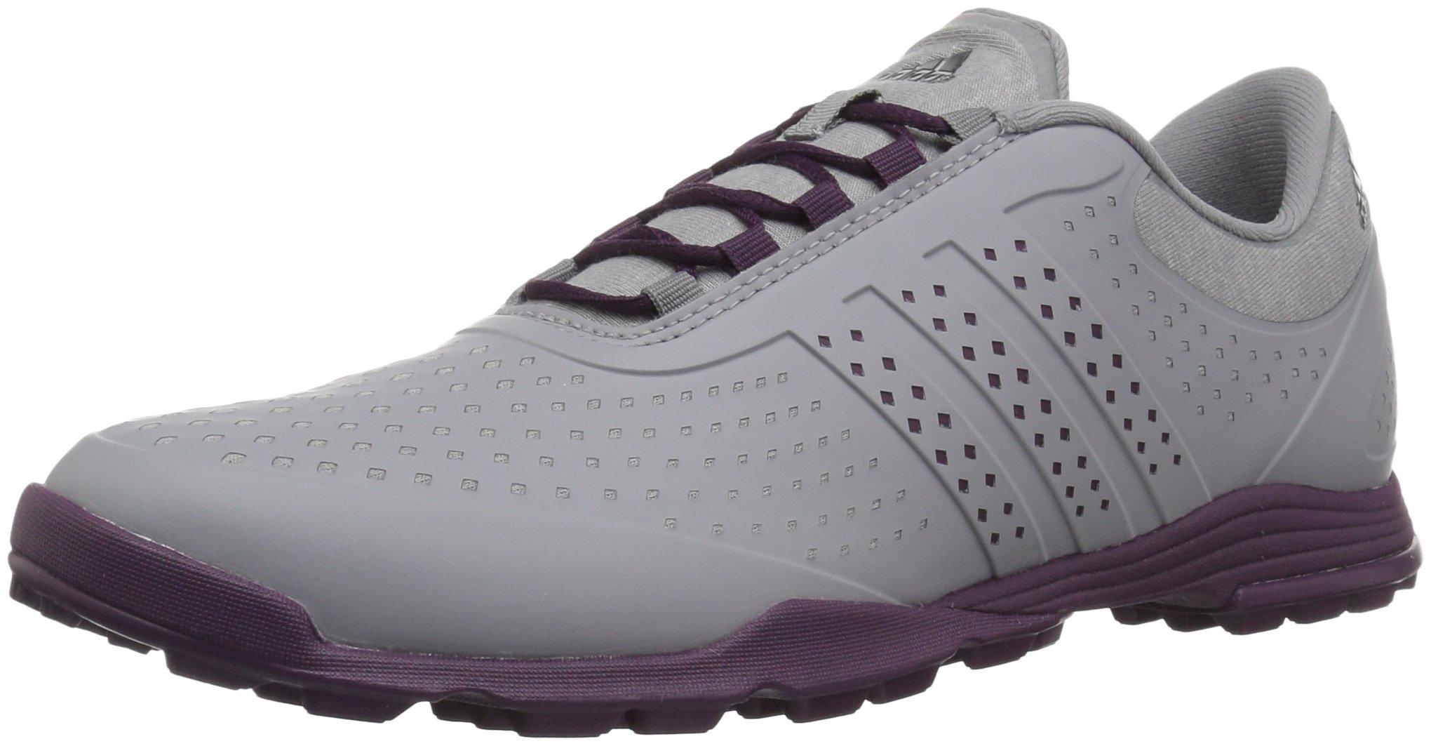 adidas Women's Adipure Sport Golf Shoe, Grey/Red Night, 9.5 M US
