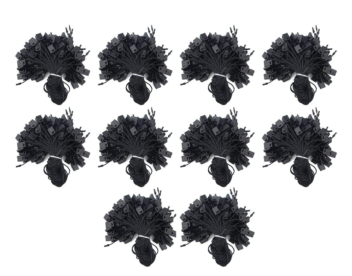 WGCD 1000PCS Black Nylon Clothing Hang Tag String Snap Lock Pin Loop Fasteners Hook Tie Labeling Tagging Supplies