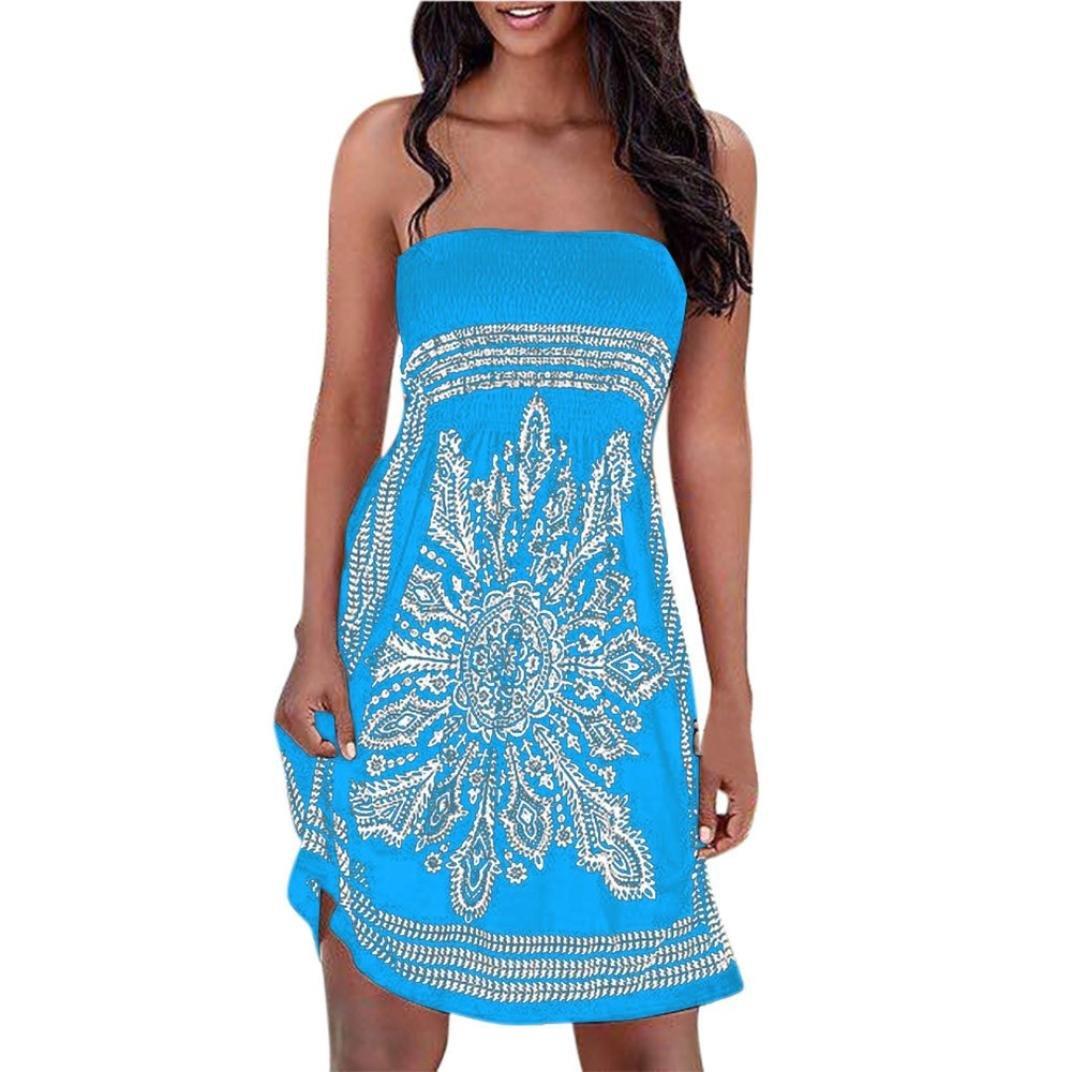 Sumen Women Summer Sleeveless Boho Floral Print Bandeau Beach Dress Cover up