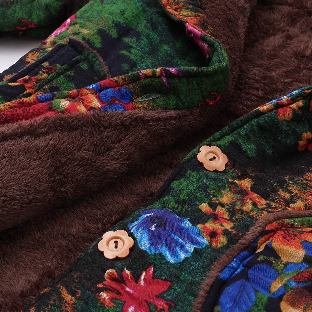 JKRED Womens Winter Warm Outwear Floral Print Hooded Pockets Vintage Oversize Coats Women Christmas Oversize Coats