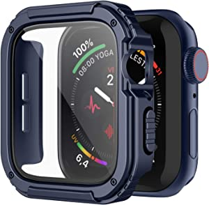 Recoppa Rugged Apple Watch Case 38mm Series 3/2/1 with Screen Protector, Durable Military Grade Quattro Pro Series Drop-Proof Protective Cover Full Coverage Shock-Proof Bumper for Men iWatch(Blue)