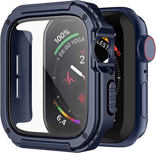 Recoppa Rugged Apple Watch Case 42mm Series 3 2 1 With Screen Protector Durable Military Grade Quattro Pro Series Drop Proof Protective Cover Full Coverage Shock Proof Bumper For Men Iwatch Blue