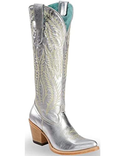 b3b612af26b CORRAL Women s Silver Embroidery Tall Top Cowgirl Boot Pointed Toe Silver  ...