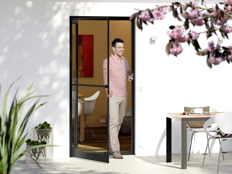KIT porte-moustiquaire anthracite cadre tendeur 125x245cm