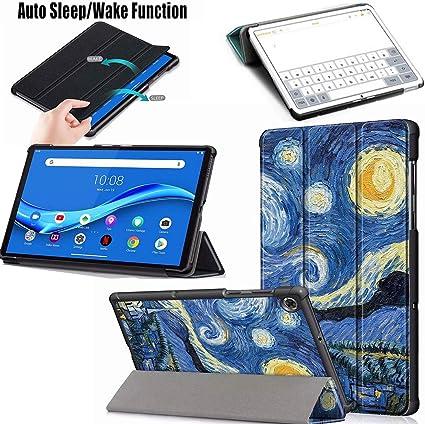 Graffiti Pellicola Protettiva Guscio Supporto Protettiva Tablet Cover in Pelle Flip PU Case LJSM Custodia Vetro Temperato per Lenovo Tab M10 FHD Plus 10.3 TB-X606F // TB-X606X