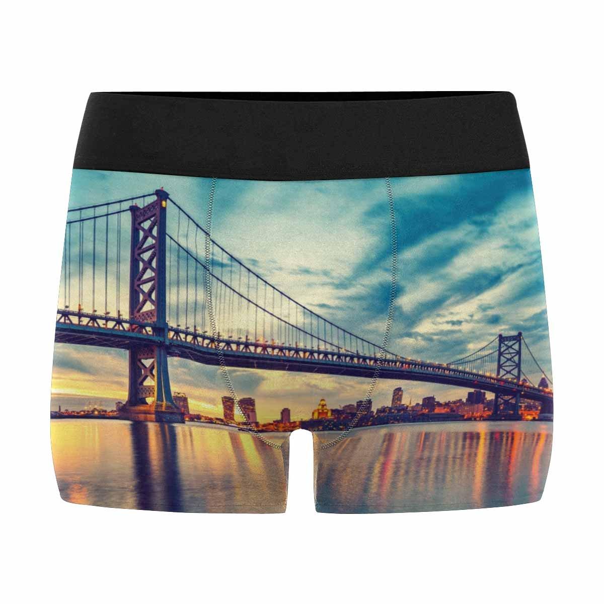 INTERESTPRINT Boxer Briefs Mens Underwear Ben Franklin Bridge in Philadelphia at Sunset XS-3XL