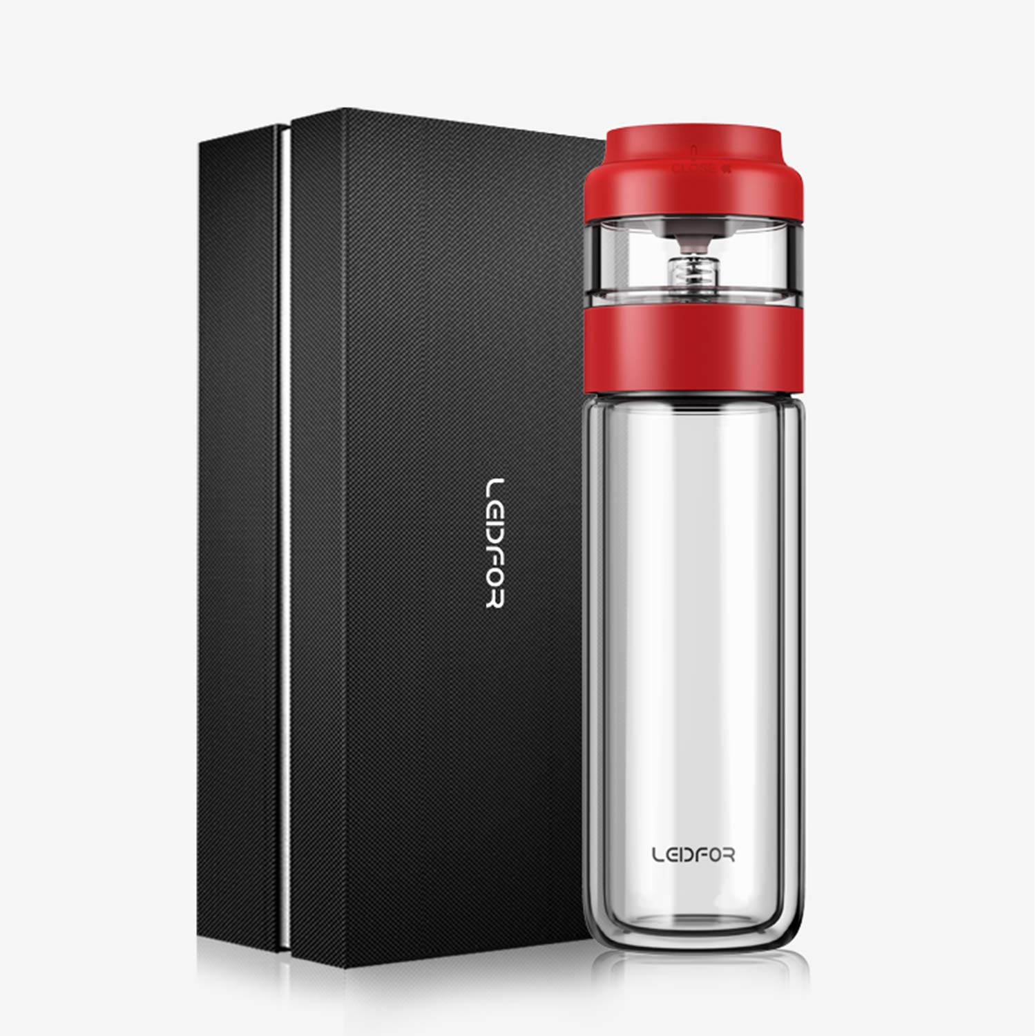 LEIDFOR Glass Tea Tumbler with Leaf-Tea Separation Infuser, Double Wall Glass Travel Tea Mug, Leakproof Tea Bottle with Strainer BPA Free Red 10 Ounce