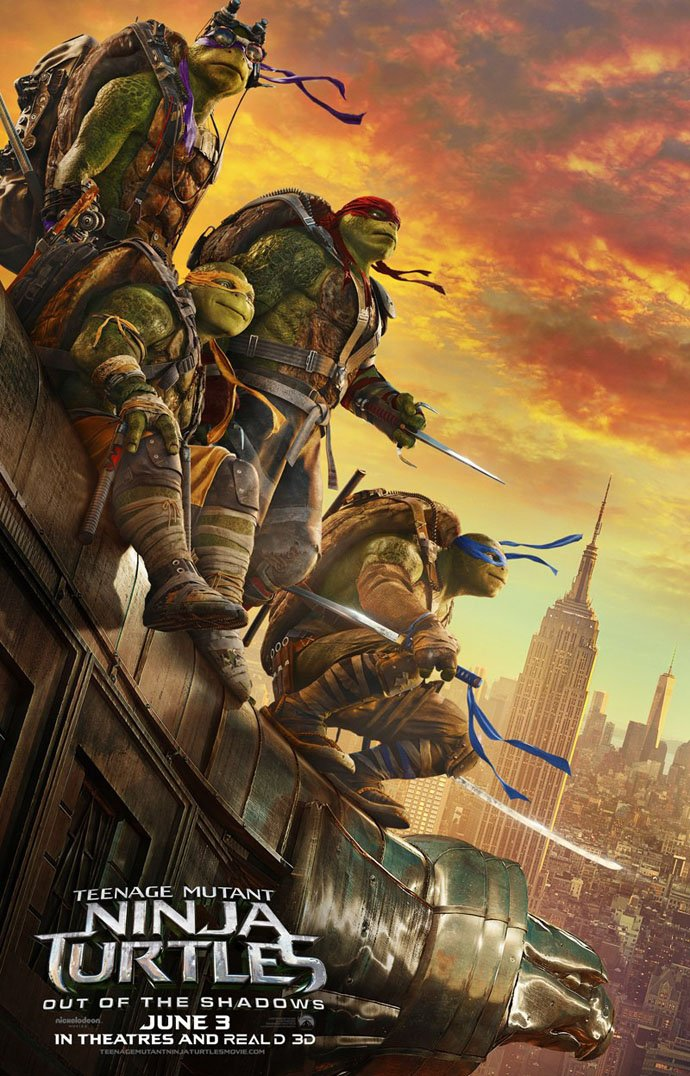 TEENAGE MUTANT NINJA TURTLES OUT OF THE SHADOWS MOVIE POSTER DS ORIGINAL Ver B 27x40