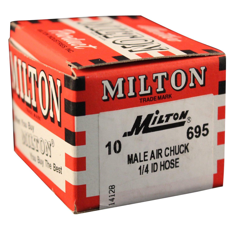Milton 695 1/4'' ID Hose Barb Air Chuck - Box of 10