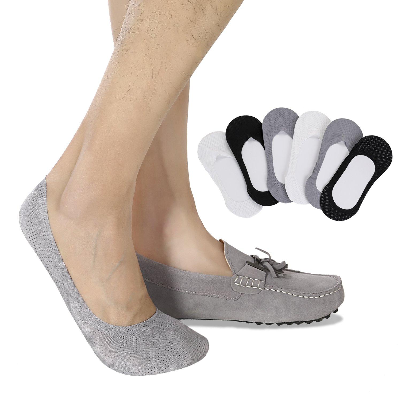 Mens No Show Socks Non-Slip Grips Casual Low Cut Boat Sock 6 Pack Black Gray light Gray Small