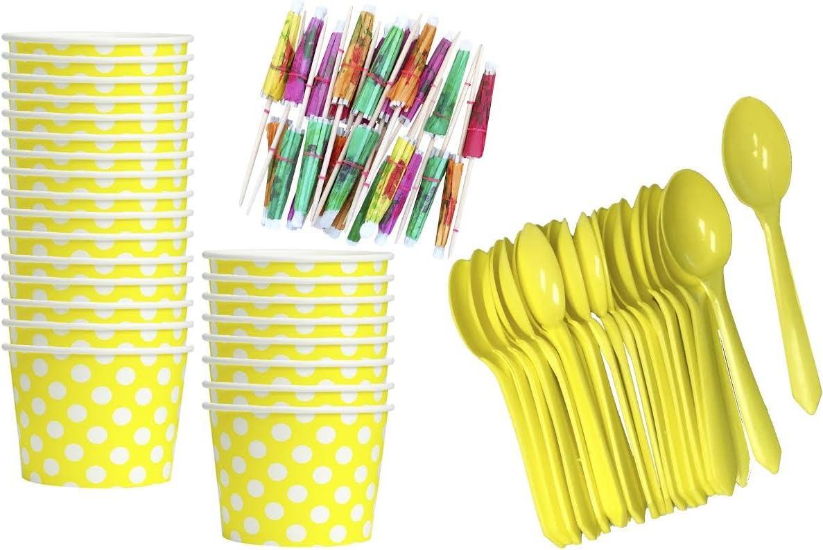 Yellow Ice Cream Sundae Kit - Polka Dot Paper Treat Cups - Yellow Plastic Spoons - Paper Umbrellas - 24 Each Birthday Party Goods