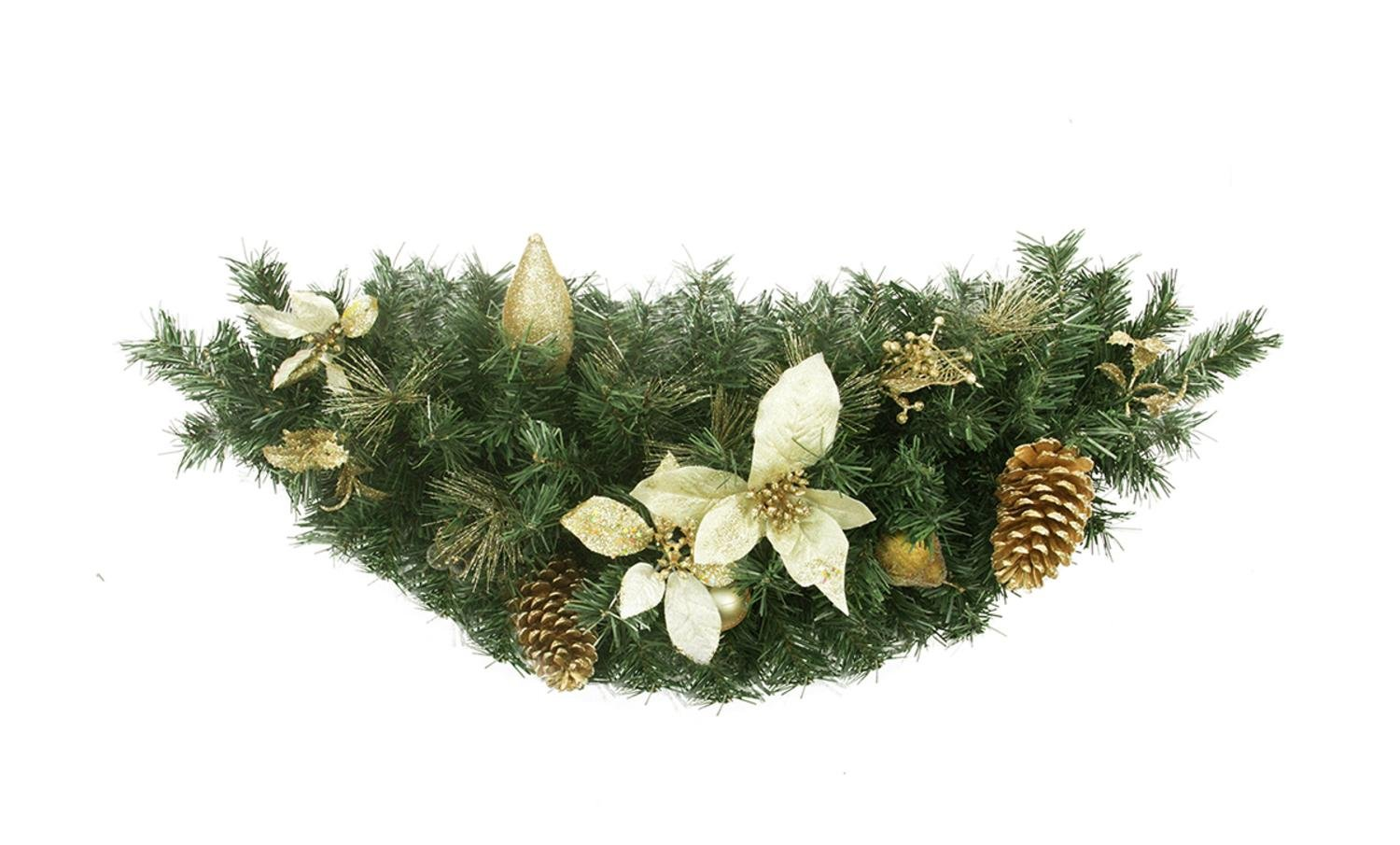 Northlight 35'' Pre-Decorated Gold Poinsettia, Pine Cone and Pear Artificial Christmas Swag - Unlit