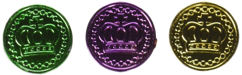 Mardi Gras Plastic Coins (asstd gold, green, purple)(100/Pkg)