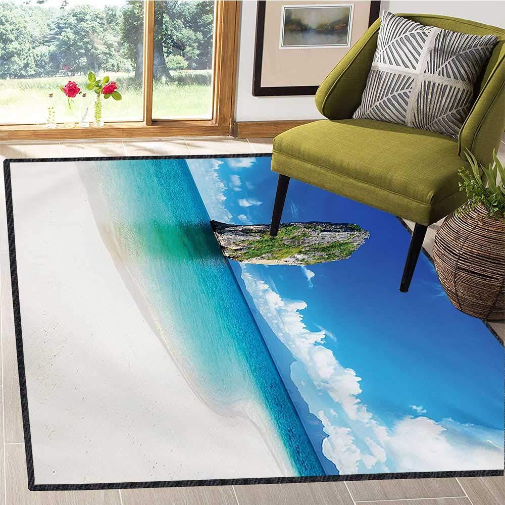 Island, Bath Mats for Floors, Big Tall Poda Cliff Rock in The Sea in Asian Coastline Exotic Vacation Scene, Bath Mat 6x9 Ft Blue White Cream