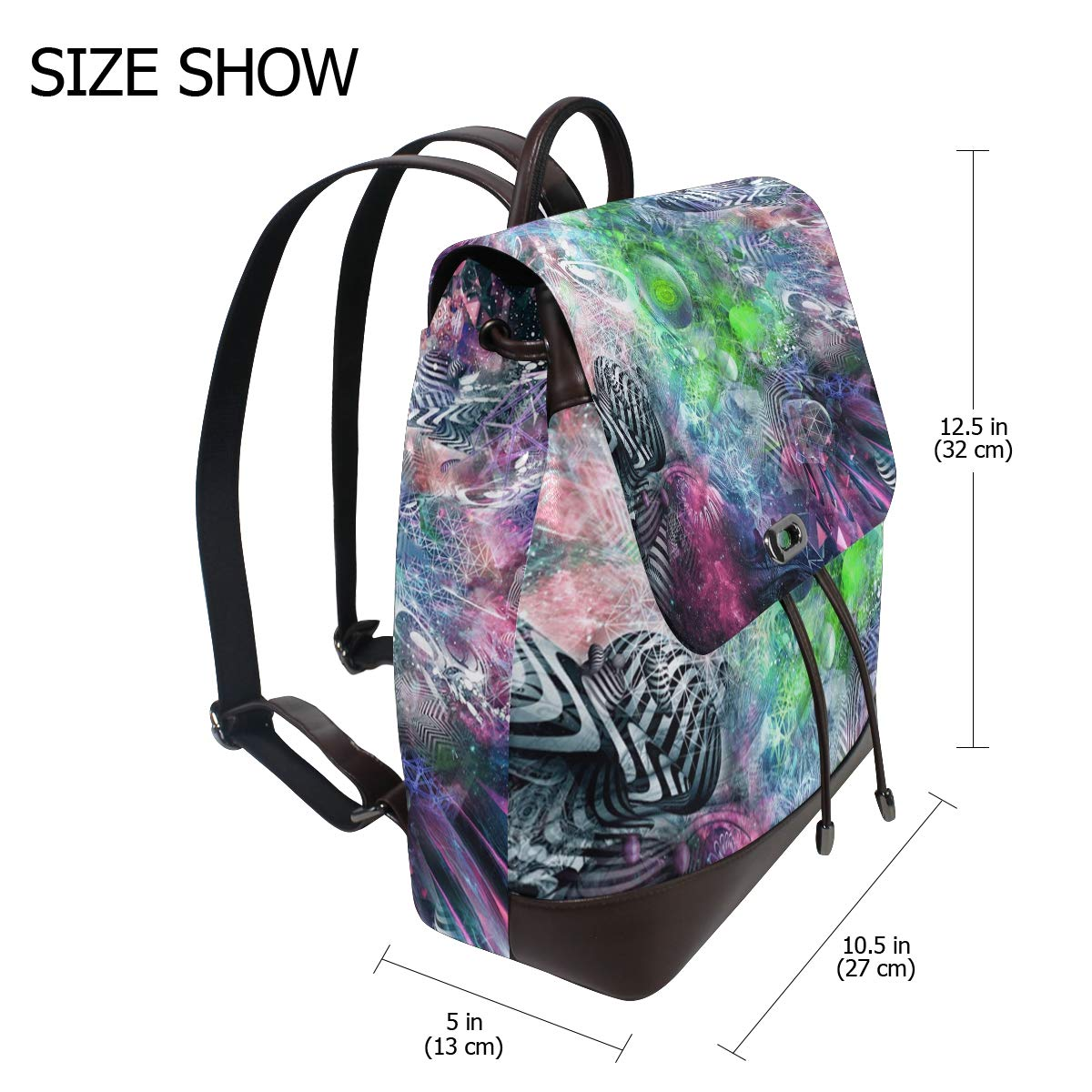 Unisex PU Leather Backpack Psychedelic Trippy Hippie Print Womens Casual Daypack Mens Travel Sports Bag Boys College Bookbag