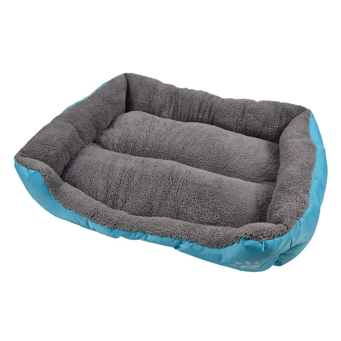 Paw Printed Pet Puppy Cushion Basket Cat Doghole House Kennel Dog Bed L bluee