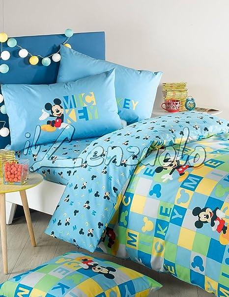 Copripiumino Disney Una Piazza E Mezza.Disney Copripiumino Double Face Completo Una Piazza E Mezza Mickey