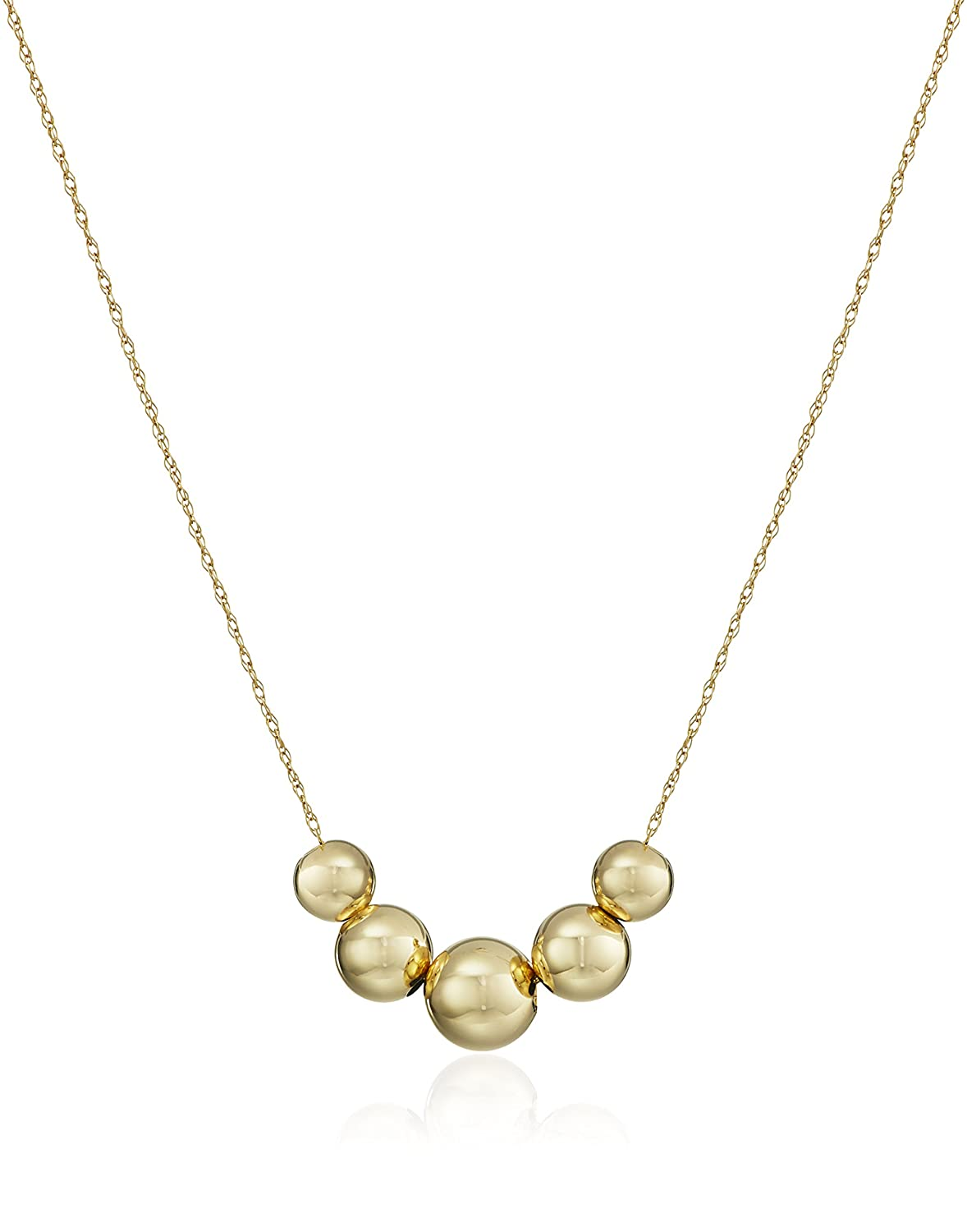 Amazon.com: 14k Yellow Gold Five-Bead Station Necklace, 18\