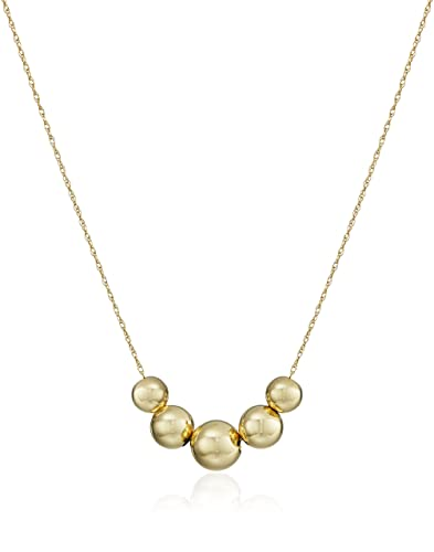 Amazoncom 14k Yellow Gold FiveBead Station Necklace 18 Jewelry