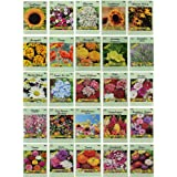 25 Slightly Assorted Flower Seed Packets - Includes 10+ Varieties - May Include: Forget Me Nots, Pinks, Marigolds, Zinnia, Wi