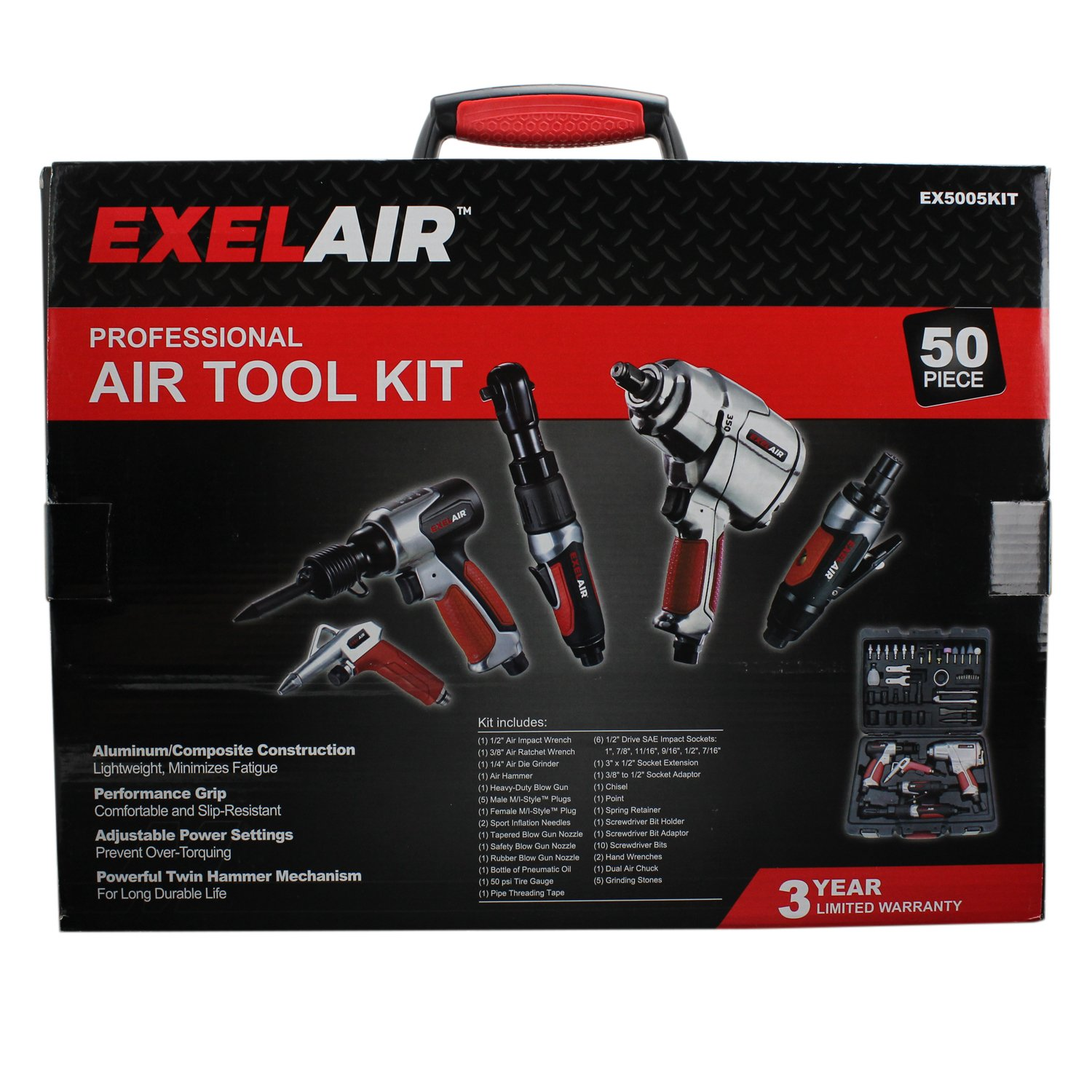 50 Piece Professional Air Tool Kit by EXELAIR