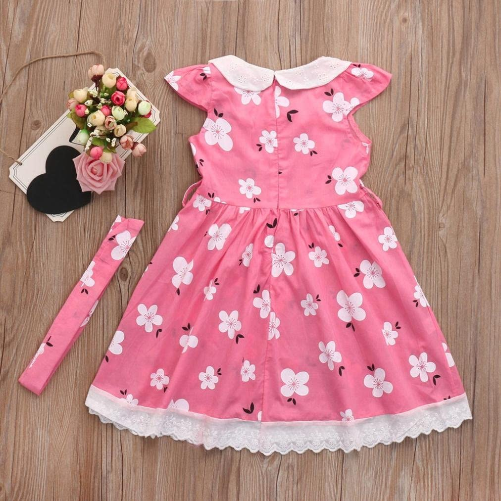 Veepola Kids Baby Girls Floral Printed Ruffle Sleeve Dresses Casual Dress