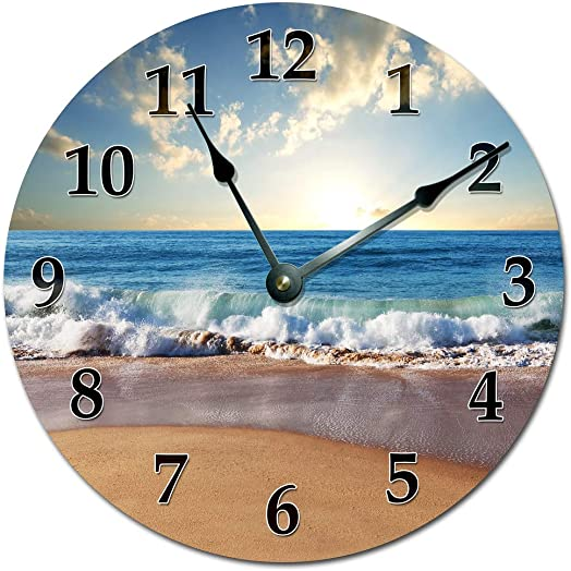 OCEAN WAVES ON SHORE CLOCK Extra Large 15.5 to 16 Wall Clock – Ocean Beach Wall Clock