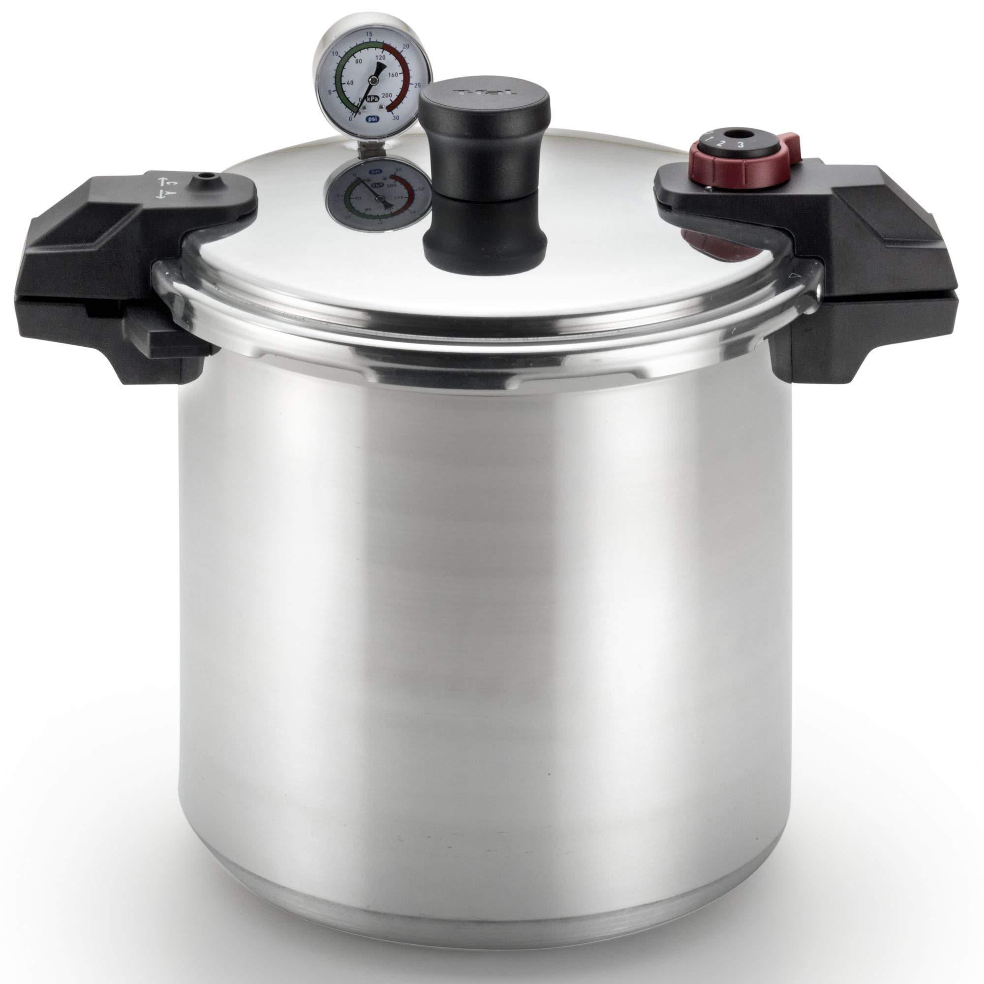 T-fal Pressure Cooker, Pressure Canner with Pressure Control, 3 PSI Settings, 22 Quart, Silver (Renewed)