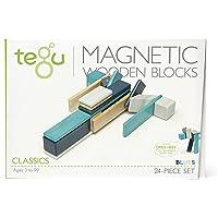 Tegu Magnetic Wooden Block Set, Blues, 24 Piece